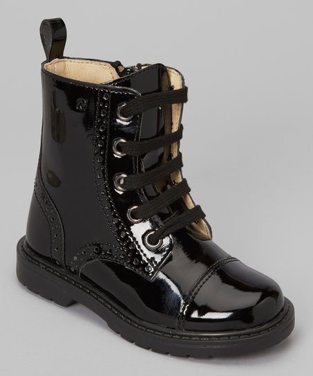 Nero Lacca Lace-Up Boot
