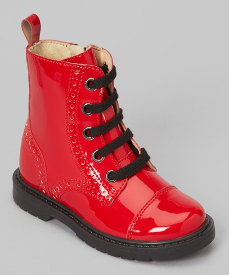 Rosso Lacca Lace-Up Boot