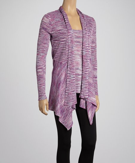 Heather Berry Shimmer Open Cardigan & Tank