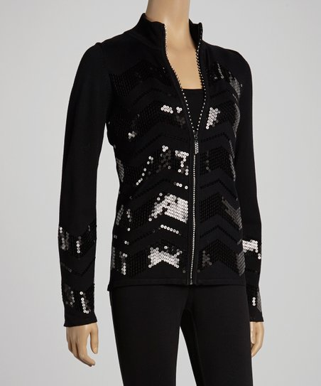 Black Sequin Zip Cardigan & Tank
