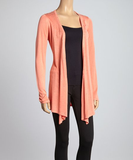 Sun-Kissed Coral Shimmer Open Cardigan