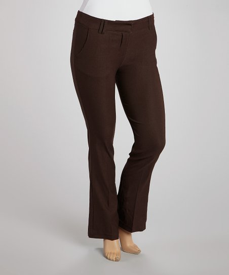 Brown Slim Bootcut Pants - Plus