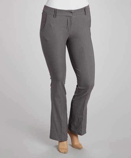 Gray Slim Bootcut Pants - Plus