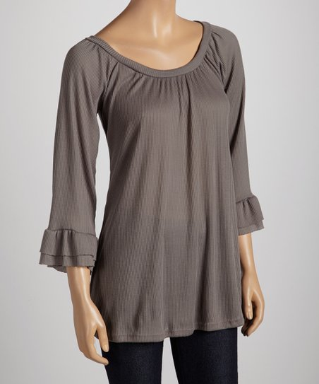 Charcoal Bell-Sleeve Top