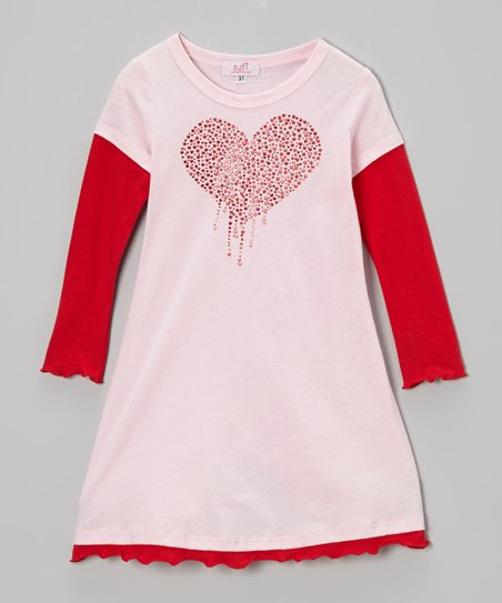 Pink & Red Studded Drip Heart Layered Dress - Toddler & Girls