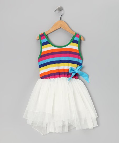 White Stripe Dress - Girls