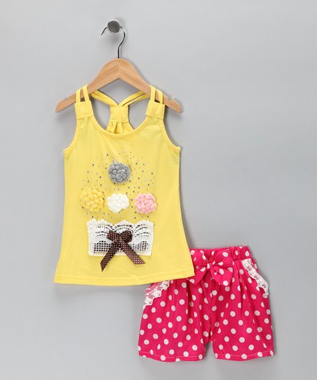 Yellow Rosette Tank & Pink Polka Dot Shorts - Toddler & Girls