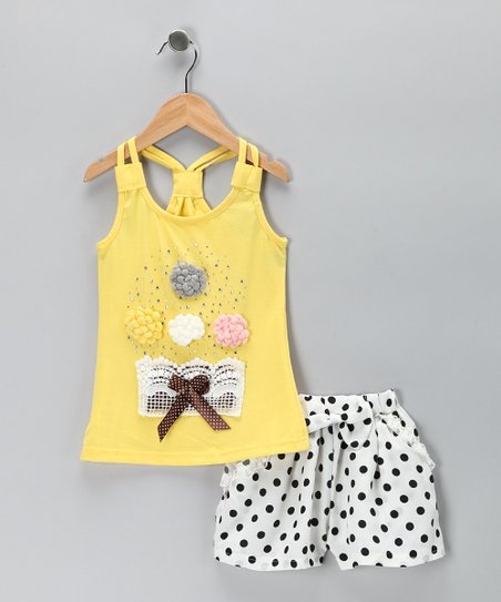 Yellow Rosette Tank & White Polka Dot Shorts