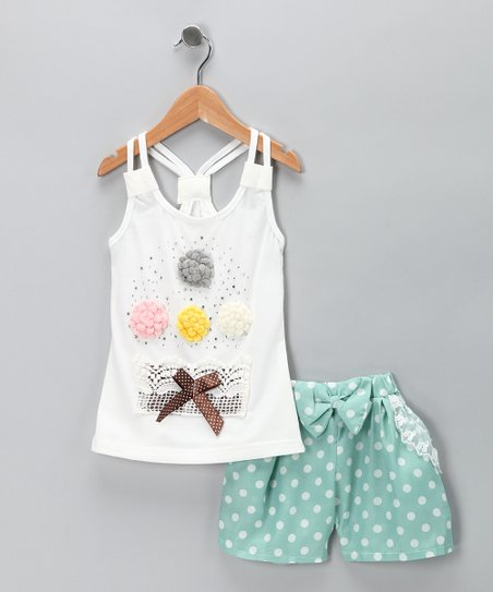 Sweet Bluette White Rosette Tank & Green Polka Dot Shorts