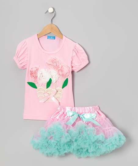 Pink Blossom Basket Top & Tulle Skirt - Girls