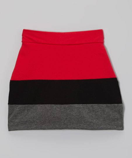 Crimson & Black Lacquer Color Block Skort - Toddler & Girls