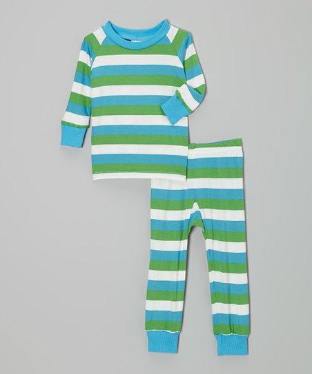 Teal & Green Stripe Pajama Set – Infant & Toddler