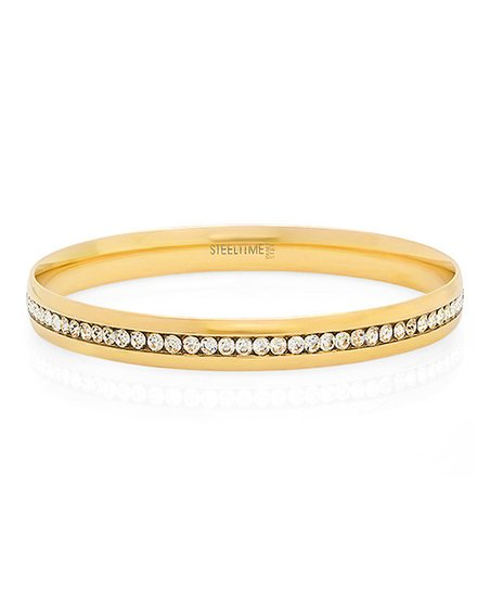 Yellow Gold Sparkle Simulated Diamond Eternity Bangle