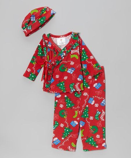 Deck the Halls Organic Wrap Top & Pants - Infant