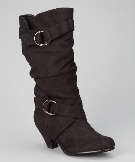 Black Pauline Zip Double Strap Boot