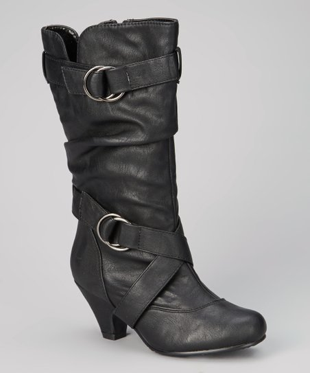 Black Pauline Strap & Zip Boot