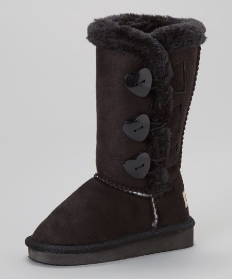 Black Triple-Heart Toggle Boot