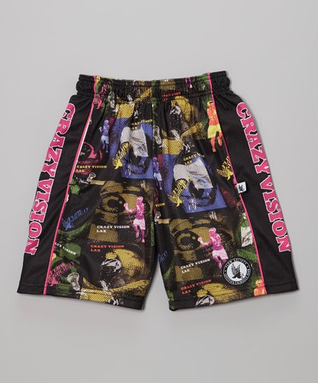 Black 'Crazy Vision' Lacrosse Shorts - Kids
