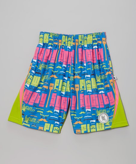 Neon Green Mustache Performance Shorts - Boys
