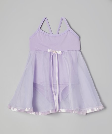 Lilac Ribbon Babydoll Skirted Leotard - Toddler & Girls