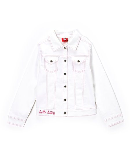 Bright White & Pink Denim Jacket - Toddler & Girls