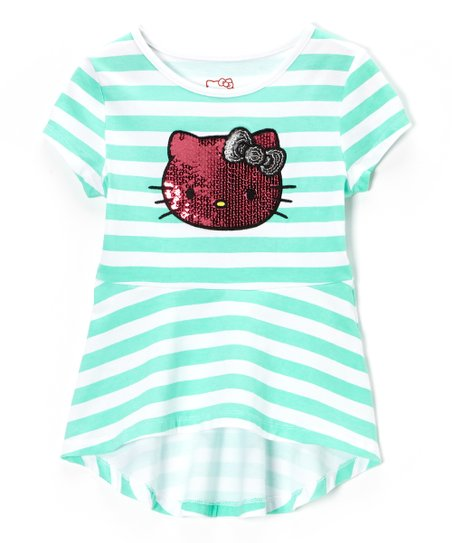 Cockatoo Green Stripe Hello Kitty Top - Toddler & Girls