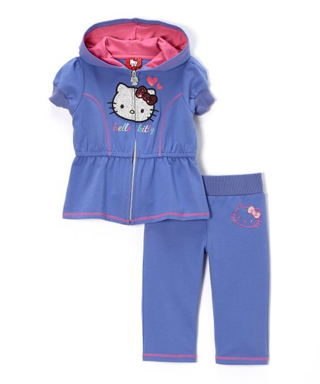 Baja Blue Hello Kitty Zip-Up Hoodie & Pants - Toddler & Girls
