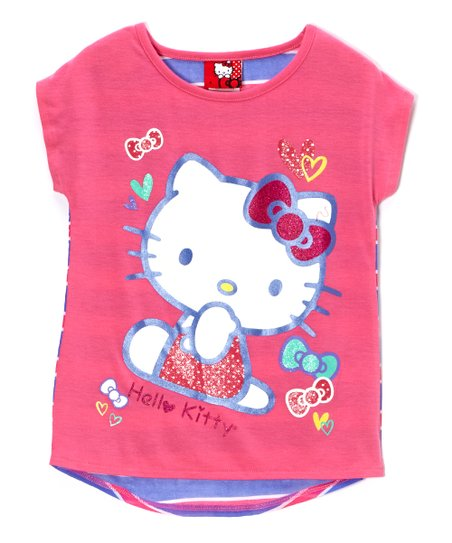 Carmine Rose 'Hello Kitty' Stripe Tee - Toddler & Girls