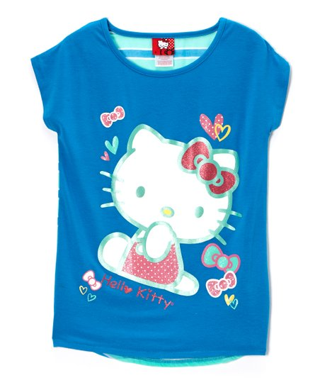 Blue 'Hello Kitty' Stripe Tee - Toddler & Girls