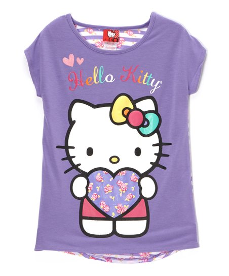 Dahlia Purple 'Hello Kitty' Stripe Tee - Toddler & Girls