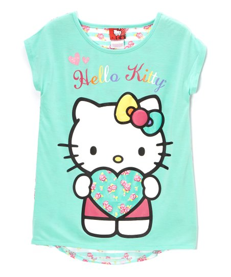 Cockatoo Green 'Hello Kitty' Stripe Tee - Toddler & Girls