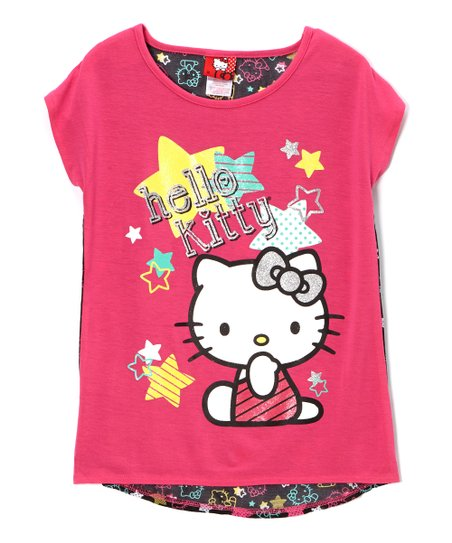Fuchsia & Purple 'Hello Kitty' Stars Tee - Toddler & Girls