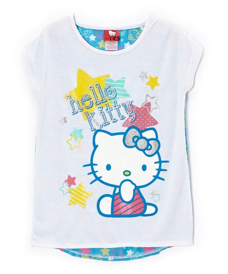 White & Blue 'Hello Kitty' Stars Tee - Toddler & Girls