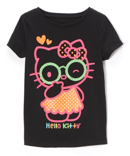 Black & Neon Pink 'Hello Kitty' Tee - Toddler & Girls