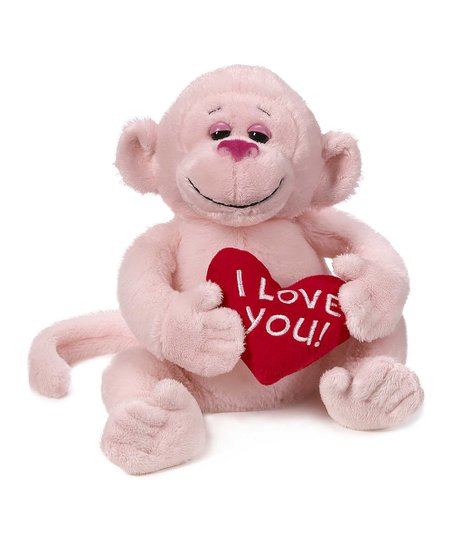 Pink 'I Love You' Monkey Plush Toy