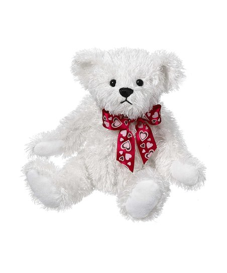 White & Red Heart Bow Bear Plush Toy