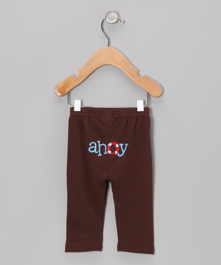 Brown 'Ahoy' Sailboat Pants - Infant & Toddler