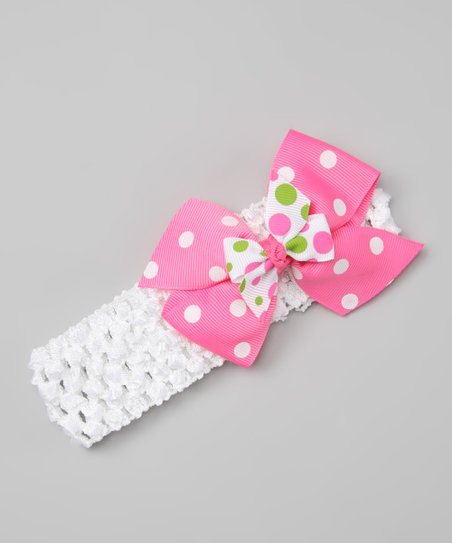 White & Pink Polka Dot Bow Headband