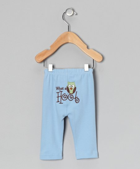 Blue 'Hoot' Owl Pants - Infant & Toddler