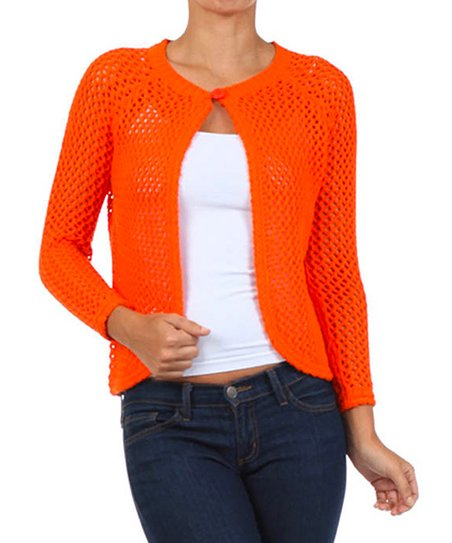 Orange Mesh Knit Single-Button Cardigan