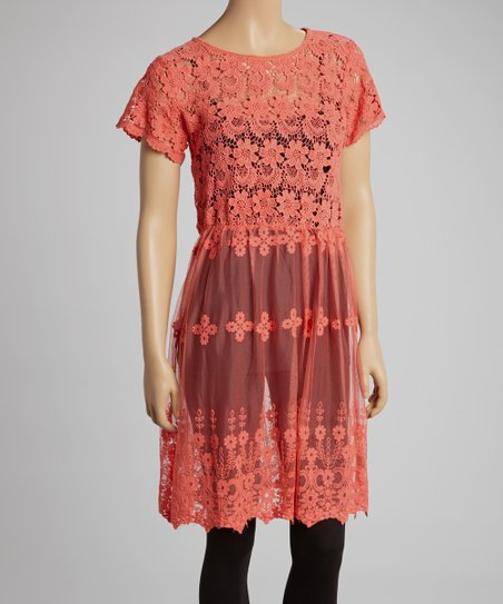 Coral Lace Cap-Sleeve Tunic - Women & Plus