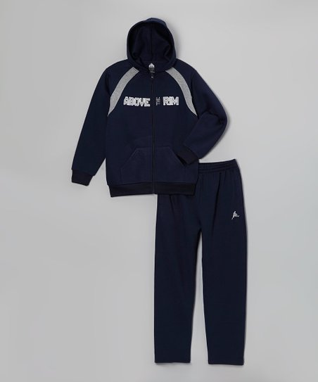 Blue Plush Zip-Up Hoodie & Sweatpants - Boys