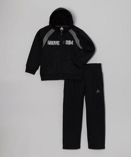 Black Plush Zip-Up Hoodie & Sweatpants - Boys