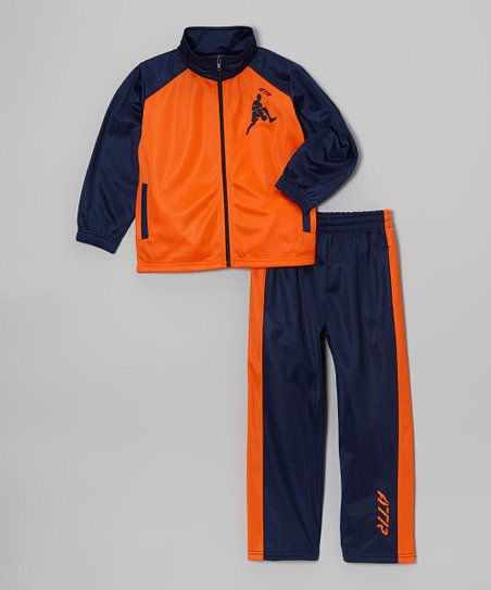 Orange Tricot Basketball Track Jacket & Navy Pants - Boys