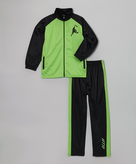 Lime Tricot Basketball Track Jacket & Black Pants - Boys