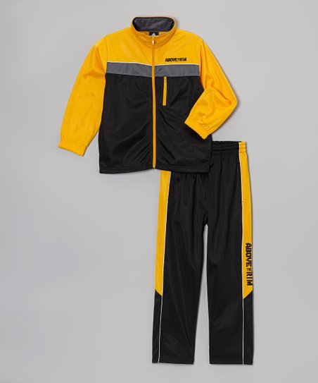 Yellow Tricot Track Jacket & Gray Pants - Boys