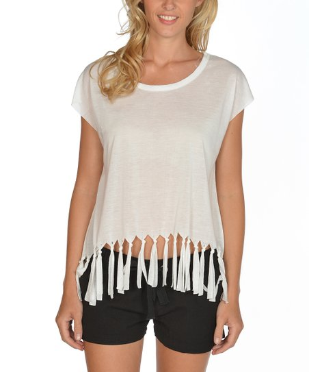 White Fringe Cap-Sleeve Top - Women