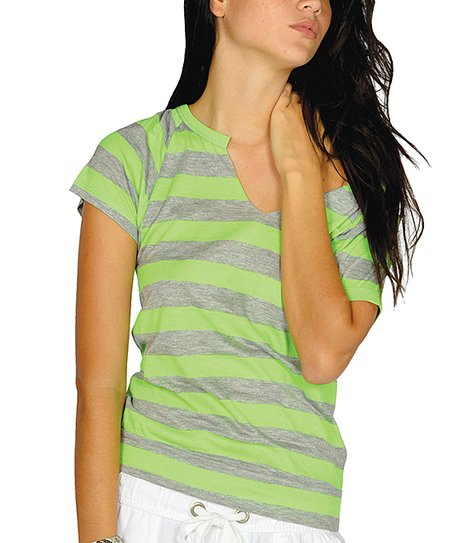 Neon Green Stripe Cutout Top