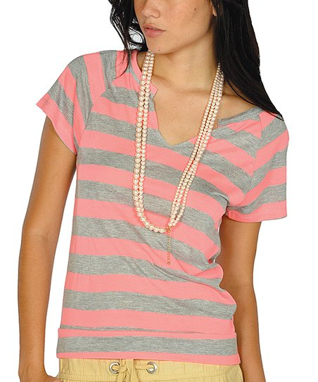 Neon Pink Stripe Cutout Top