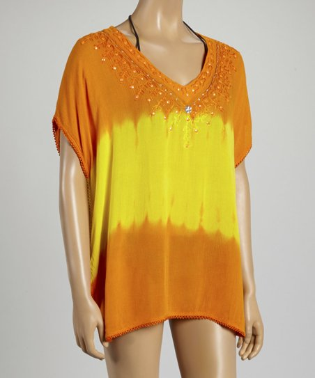 Orange & Yellow Tie-Dye Beaded Top - Women